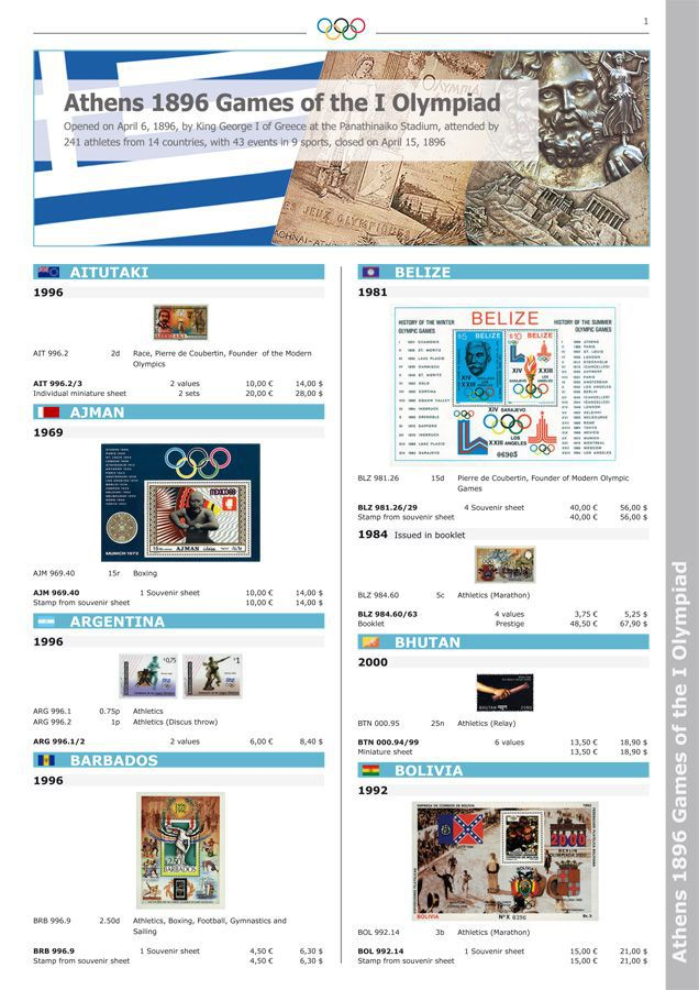 Official IOC Catalogue of Olympic Stamps. VOLUME I
