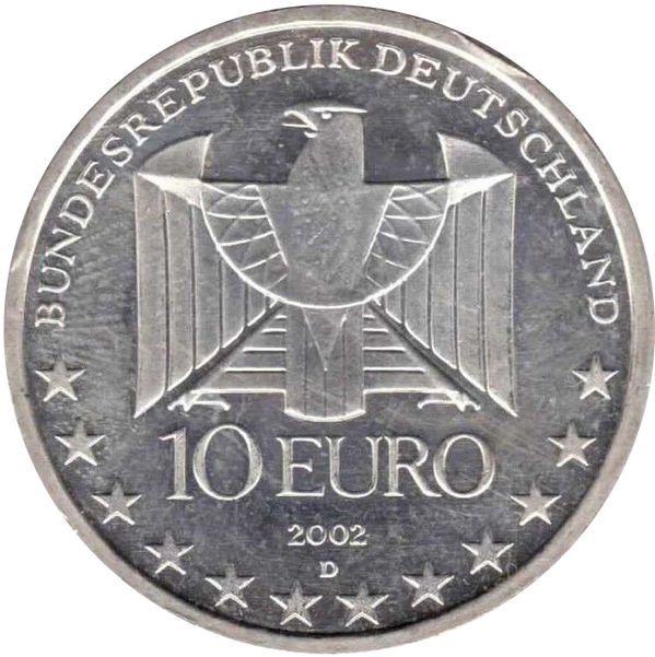 GERMANY SILVER 10 EURO  2002 100TH ANNI BERLIN SUBWAY