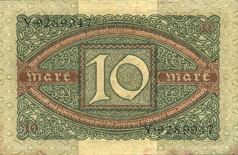 REICHSBANKNOTE 10 MARK 1920