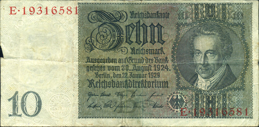 10 MARKS GERMANI ALEMANIA 1924-1929