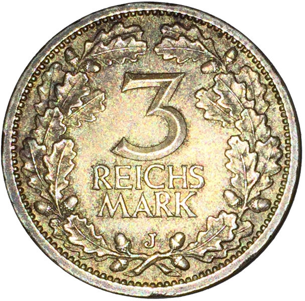 3 MARK GERMANY ALEMANIA 1932 J SILVER