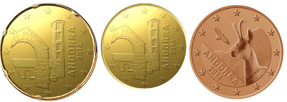 MONEDAS EURO ANDORRA 2014 5 CTS 10 CTS 20 CTS