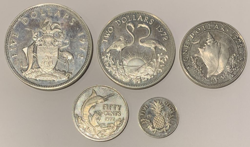 BAHAMAS  FIVE TWO ONE FITTY FIVE DOLLAR SILVER PLATA 5 2 1 0,50 0,05 DOLAR