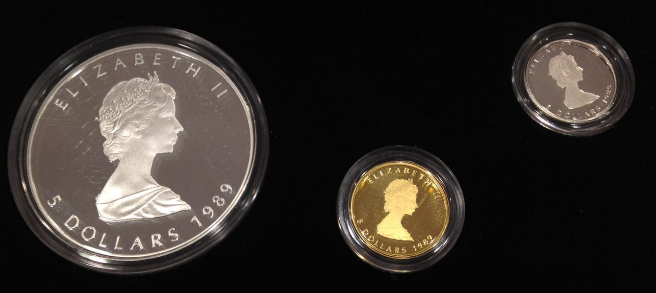 1989 CANADA MAPLE LEAF GOLD SILVER PLATINUM PROOF SET