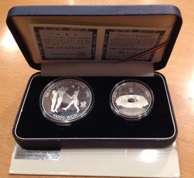 5000/10000 WON SILVER PROOF 1987 SEOUL OLYMICS STADION AND VOLLYBALL
