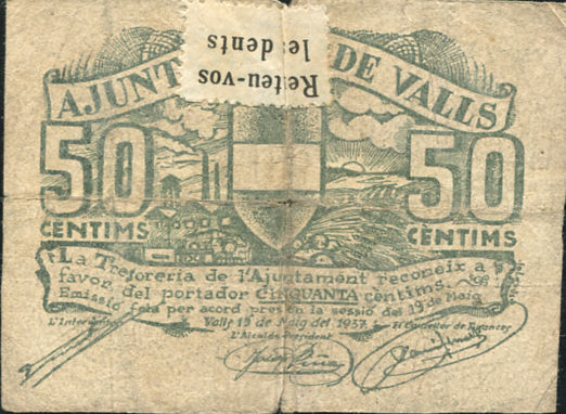 AJUNTAMENT DE VALL 50 CENTIMOS  BILLETE LOCAL GUERRA CIVIL 1937