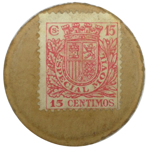 CARTON MONEDA, 15 CENTIMOS DE LA REPUBLICA ESPAÑOLA - SELLO 15 CTS.