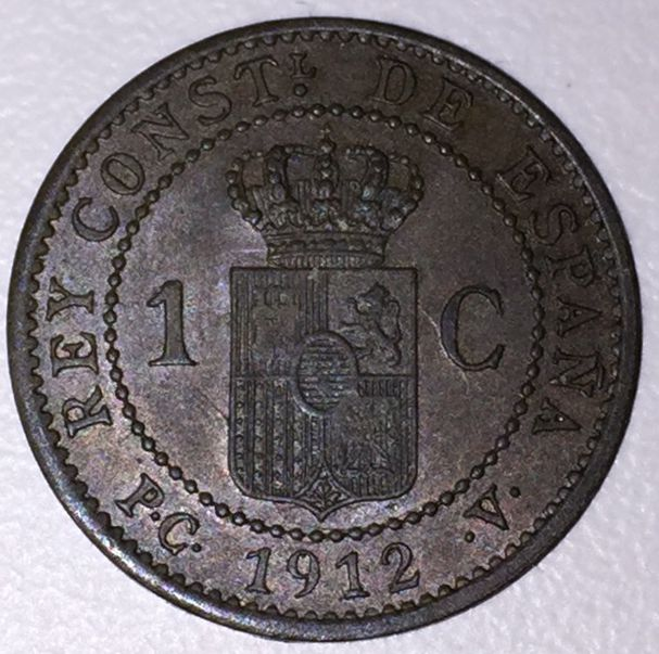 ALFONSO XIII 1 ct. 1912 Madrid PC V