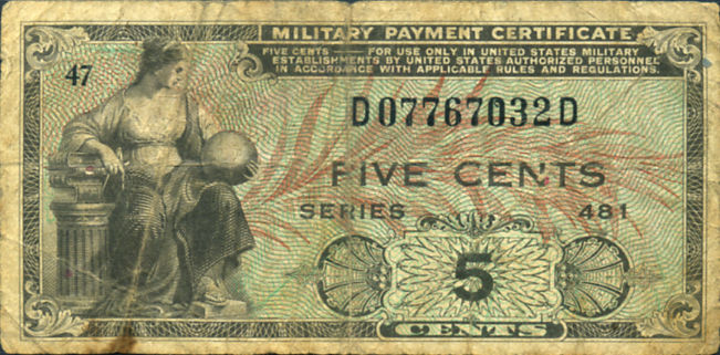 1951-1954 MILITARY PAYMENT CERTIFICATE 5 CENTS