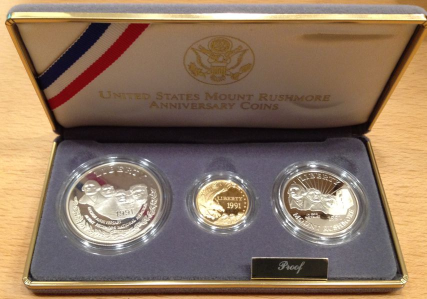 3 COIN PROOF 1991 MOUNT RUSHMORE COMMEMORATIVE SET