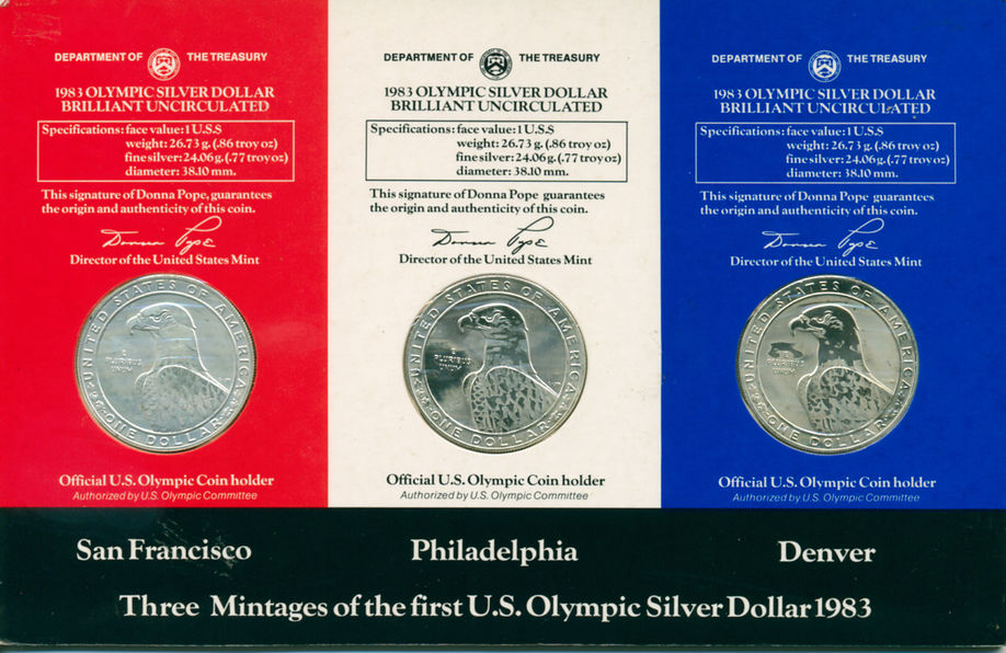 THE COMPLETE 1983 OLYMPIC SILVER DOLLAR SET
