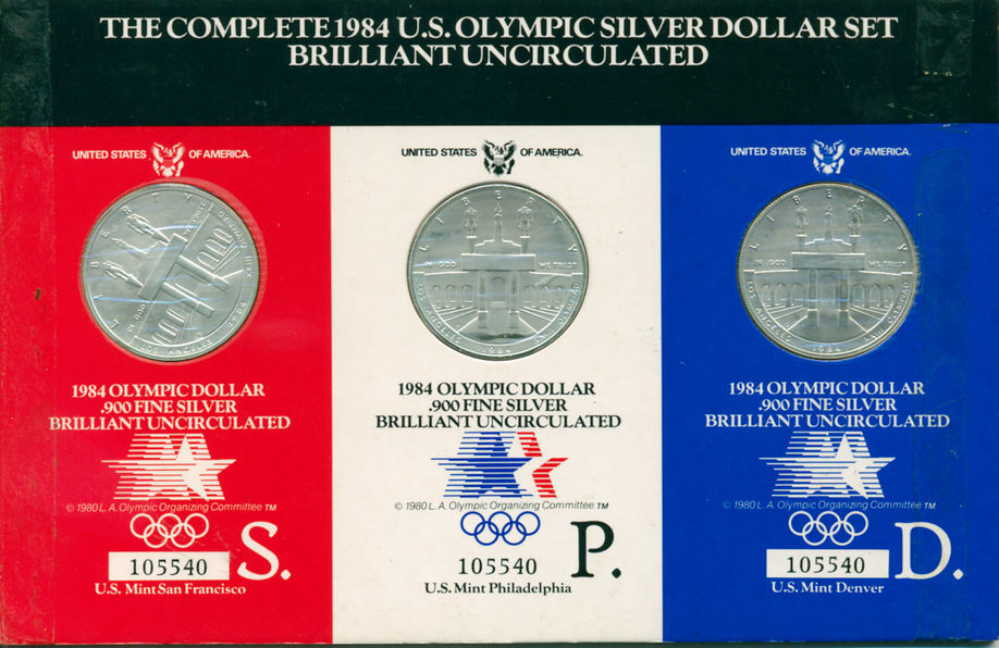 THE COMPLETE 1984 OLYMPIC SILVER DOLLAR SET