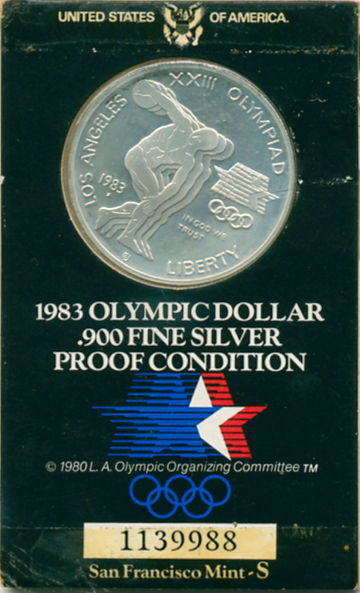 1983 OLYMPIC SILVER DOLLAR PROOF