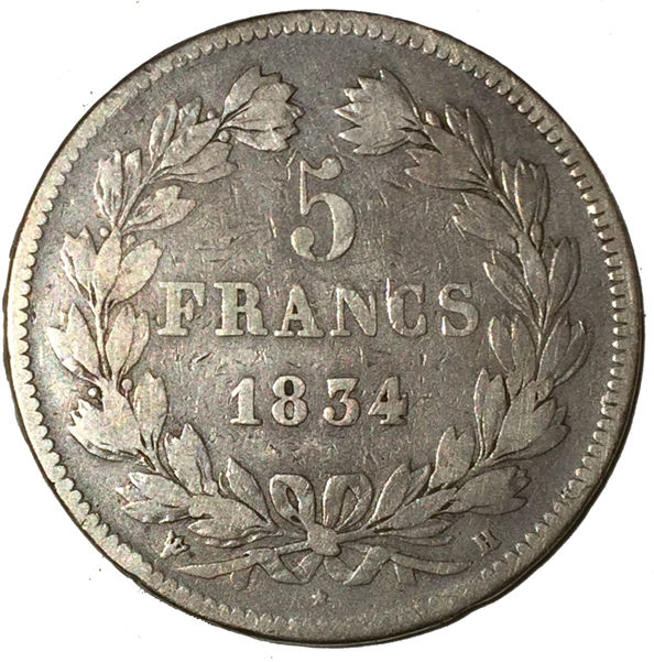 1834 FRANCE LOUIS PHILIPPE I SILVER