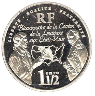 2003 FRANCE 1.5 EURO LOUISIANA PURCH.JEFFERSON NAPOLEON ARMSTRONG