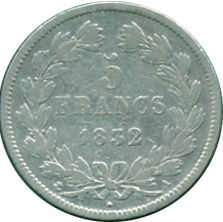 FRANCE 1832 A LOUIS PHILIPPE I 5 FRANCS
