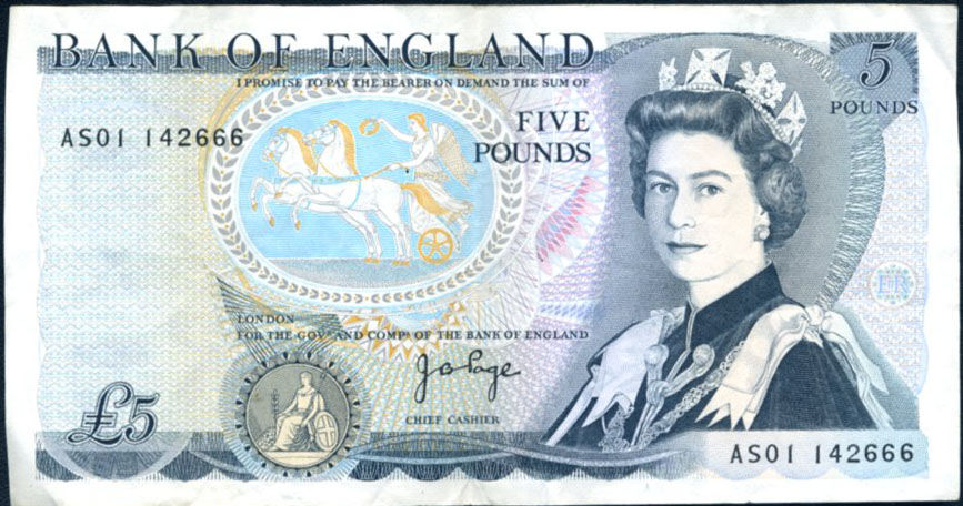 GREAT BRITAIN 5 POUNDS 1980/87