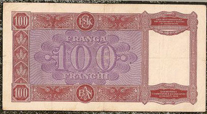 100 Franga ( 1944 ) occupation Italienne second guerre