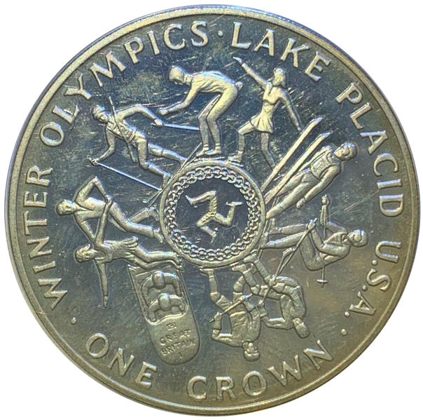 1 CROWN 1980 MAN WINTER OLYMPICS LAKE PLACID SILVER