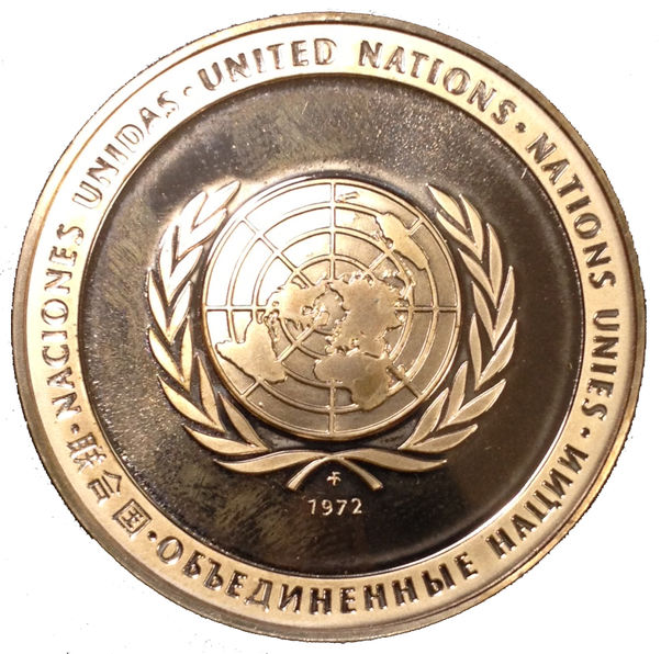 ONU UNITED NATIONS MEDALLA 1972 PACE PEACE PAZ