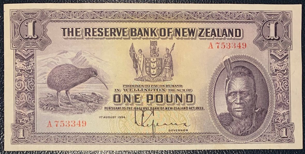 NEW ZEALAND 1 POUND CHIEF MAORI NUEVA ZELANDA