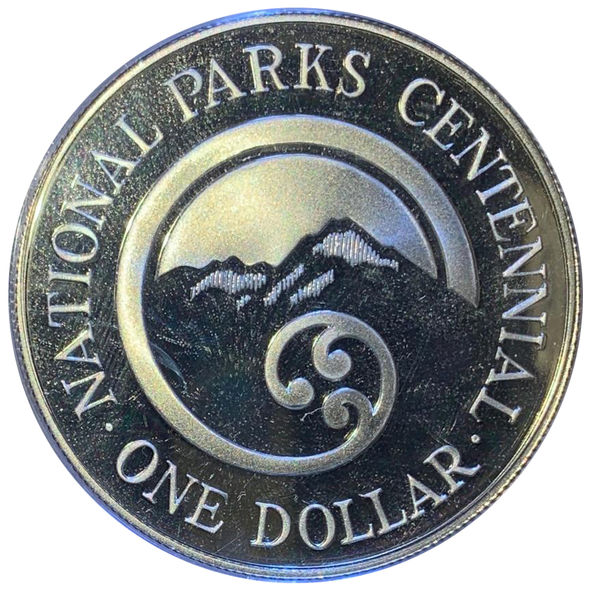 1987 NATIONAL PARKS CENTENNIAL 1 DOLAR ONE SILVER PLATA NEW ZEALAND