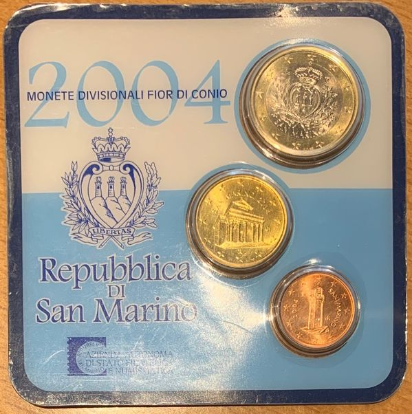 MINI SET OFICIAL MONEDAS EURO DE SAN MARINO 2004