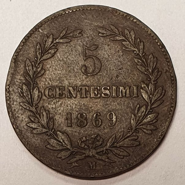 SAN MARINO 1869 COPPER 5 CENTESIMI