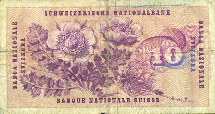 10 FRANCS SUISSE SUIZA 1958 SWITZERLAND
