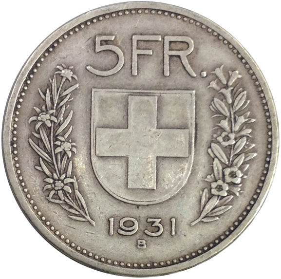 1931 SWITZERLAND 5 FRANCS SILVER COIN