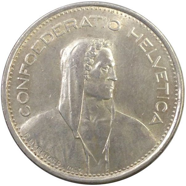 1966 SWITZERLAND 5 FRANCS SILVER COIN