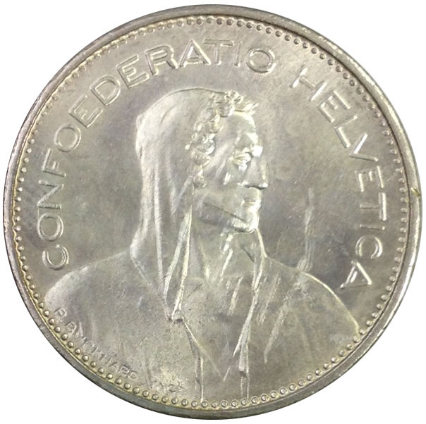 1965 SWITZERLAND 5 FRANCS SILVER COIN