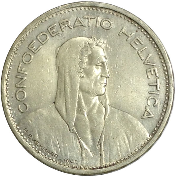 1939 SWITZERLAND 5 FRANCS SILVER COIN