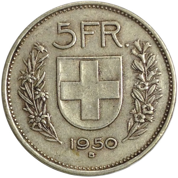 1950 SWITZERLAND 5 FRANCS SILVER COIN