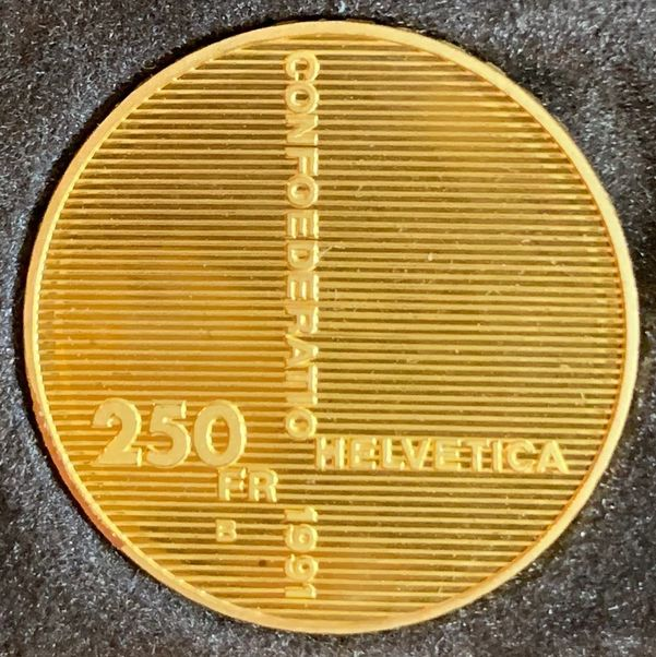 SWITZERLAND 1991 CONFEDERATION ANNIV. 250 FRANCS GOLD
