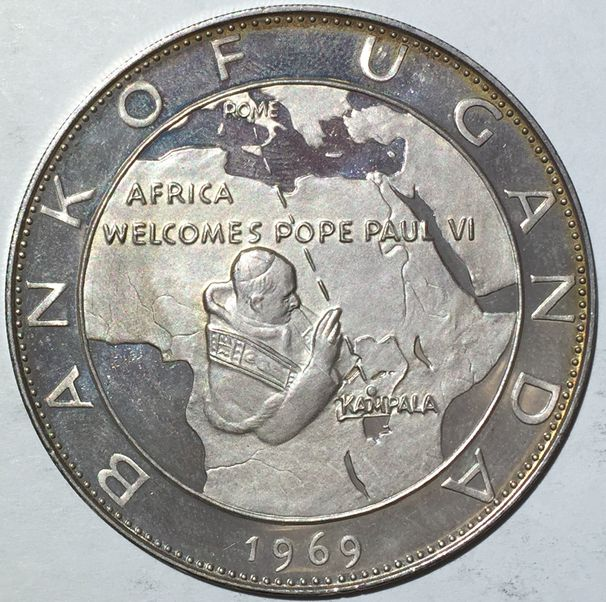 UGANDA VISIT OF POPE PAUL VI 20 SHILLINGS 1969