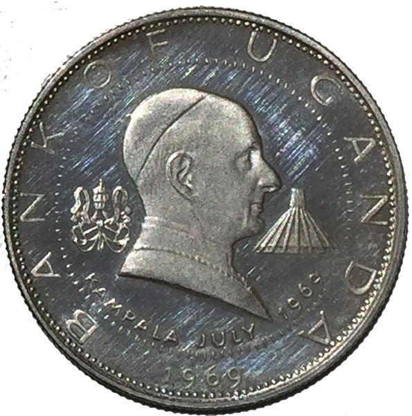 UGANDA VISIT OF POPE PAUL VI 2 SHILLINGS 1969